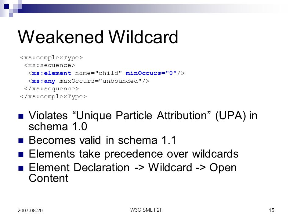 15 W3C SML F2F 2007-08-29 Weakened Wildcard Violates Unique Particle Attribution (UPA) in schema 1.0 Becomes valid in schema 1.1 Elements take precedence over wildcards Element Declaration -> Wildcard -> Open Content