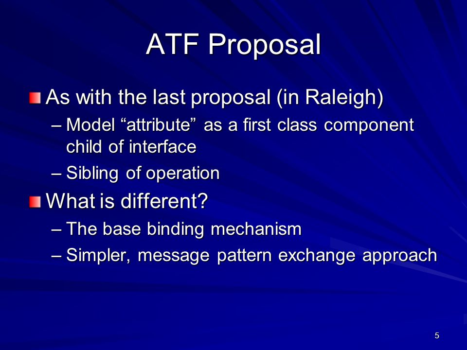 5 ATF Proposal As with the last proposal (in Raleigh) –Model attribute as a first class component child of interface –Sibling of operation What is different.