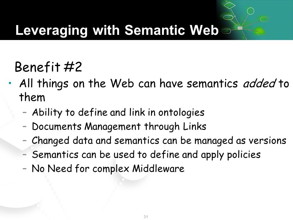30 Leveraging with Semantic Web Free Data from Applications… –Data uniquely defined by URIs, even across multiple databases –Mapped through a common graph semantic model –Data can be distributed (not in one location) –New relations and attributes dynamically added As easy as spreadsheets, but with semantics and web locations Benefit #1