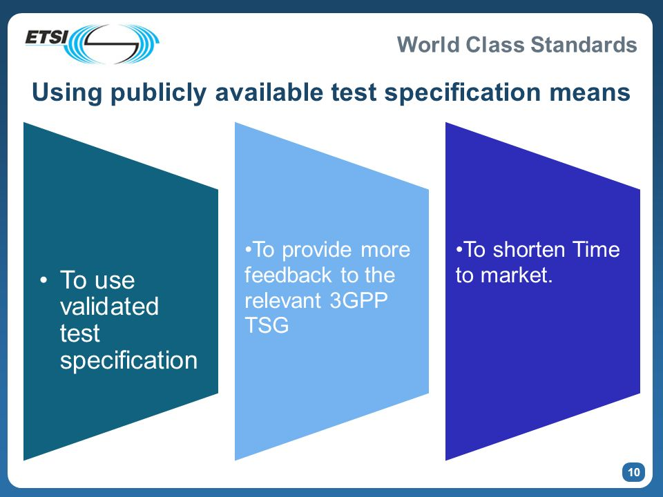 World Class Standards 10 Using publicly available test specification means To use validated test specification To provide more feedback to the relevant 3GPP TSG To shorten Time to market.