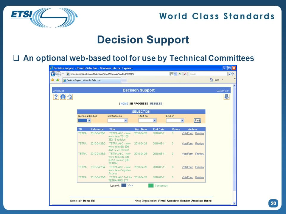 Decision Support An optional web-based tool for use by Technical Committees 20