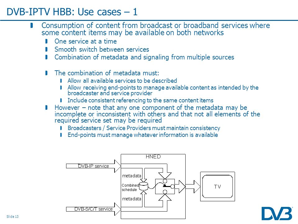 Slide 13 Consumption of content from broadcast or broadband services where some content items may be available on both networks One service at a time Smooth switch between services Combination of metadata and signaling from multiple sources The combination of metadata must: Allow all available services to be described Allow receiving end-points to manage available content as intended by the broadcaster and service provider Include consistent referencing to the same content items However – note that any one component of the metadata may be incomplete or inconsistent with others and that not all elements of the required service set may be required Broadcasters / Service Providers must maintain consistency End-points must manage whatever information is available DVB-IPTV HBB: Use cases – 1
