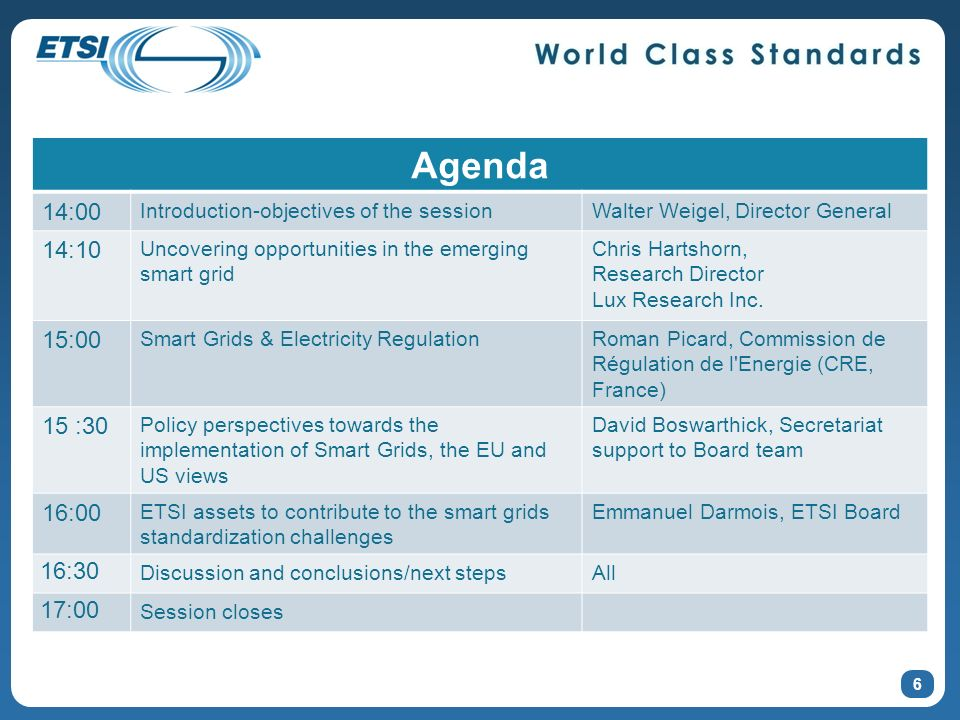 6 Agenda 14:00 Introduction-objectives of the sessionWalter Weigel, Director General 14:10 Uncovering opportunities in the emerging smart grid Chris Hartshorn, Research Director Lux Research Inc.