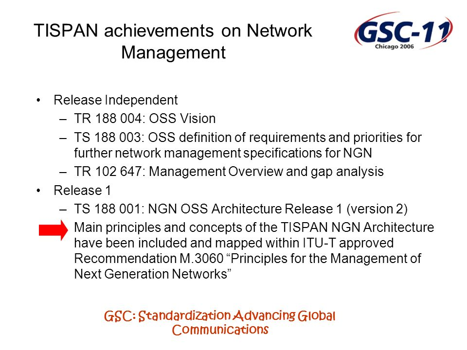 GSC: Standardization Advancing Global Communications TISPAN achievements on Network Management Release Independent –TR 188 004: OSS Vision –TS 188 003: OSS definition of requirements and priorities for further network management specifications for NGN –TR 102 647: Management Overview and gap analysis Release 1 –TS 188 001: NGN OSS Architecture Release 1 (version 2) –Main principles and concepts of the TISPAN NGN Architecture have been included and mapped within ITU-T approved Recommendation M.3060 Principles for the Management of Next Generation Networks