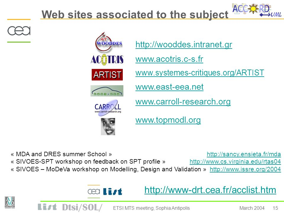 Dtsi/SOL/ 15March 2004ETSI MTS meeting, Sophia Antipolis Web sites associated to the subject http://wooddes.intranet.gr www.acotris.c-s.fr www.systemes-critiques.org/ARTIST www.east-eea.net www.carroll-research.org www.topmodl.org http://www-drt.cea.fr/acclist.htm « MDA and DRES summer School »http://sancy.ensieta.fr/mdahttp://sancy.ensieta.fr/mda « SIVOES-SPT workshop on feedback on SPT profile »http://www.cs.virginia.edu/rtas04http://www.cs.virginia.edu/rtas04 « SIVOES – MoDeVa workshop on Modelling, Design and Validation »http://www.issre.org/2004http://www.issre.org/2004