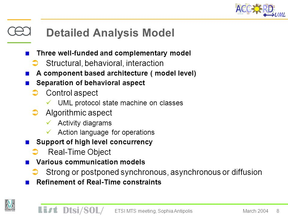 Dtsi/SOL/ 8March 2004ETSI MTS meeting, Sophia Antipolis Detailed Analysis Model Three well-funded and complementary model Structural, behavioral, interaction A component based architecture ( model level) Separation of behavioral aspect Control aspect UML protocol state machine on classes Algorithmic aspect Activity diagrams Action language for operations Support of high level concurrency Real-Time Object Various communication models Strong or postponed synchronous, asynchronous or diffusion Refinement of Real-Time constraints