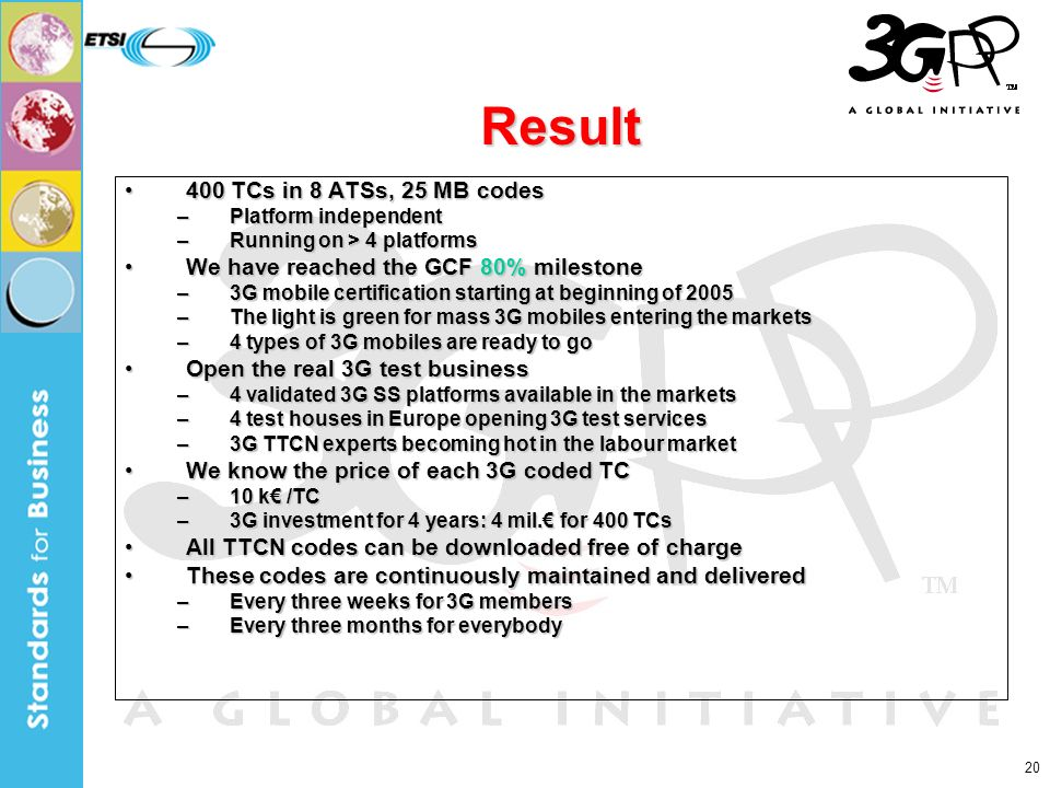 20 Result 400 TCs in 8 ATSs, 25 MB codes400 TCs in 8 ATSs, 25 MB codes –Platform independent –Running on > 4 platforms We have reached the GCF 80% milestoneWe have reached the GCF 80% milestone –3G mobile certification starting at beginning of 2005 –The light is green for mass 3G mobiles entering the markets –4 types of 3G mobiles are ready to go Open the real 3G test businessOpen the real 3G test business –4 validated 3G SS platforms available in the markets –4 test houses in Europe opening 3G test services –3G TTCN experts becoming hot in the labour market We know the price of each 3G coded TCWe know the price of each 3G coded TC –10 k /TC –3G investment for 4 years: 4 mil.