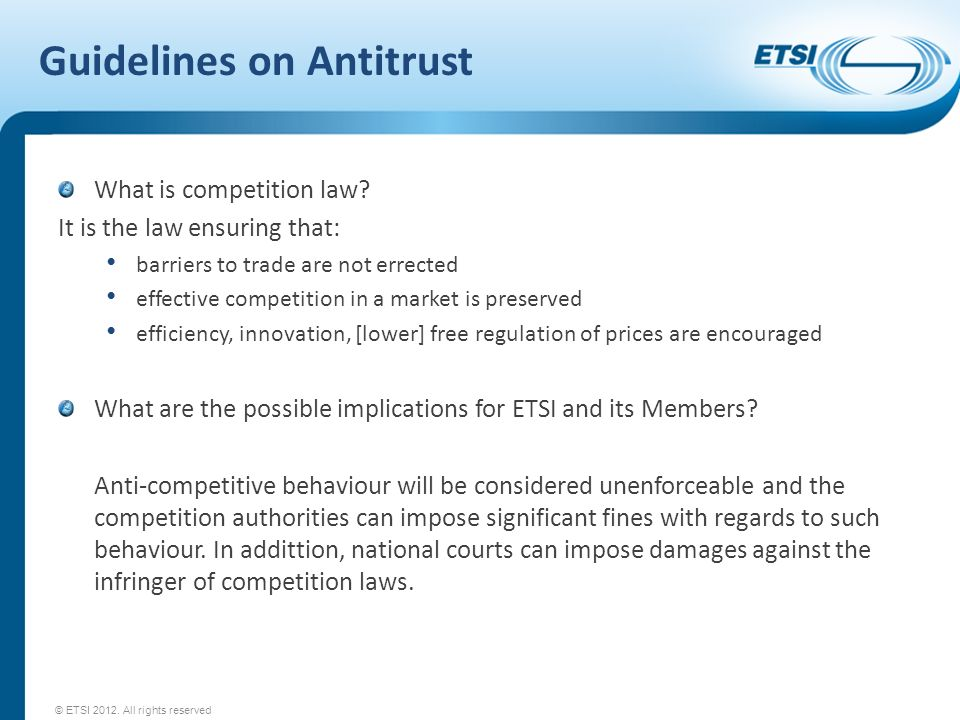 Guidelines on Antitrust What is competition law.