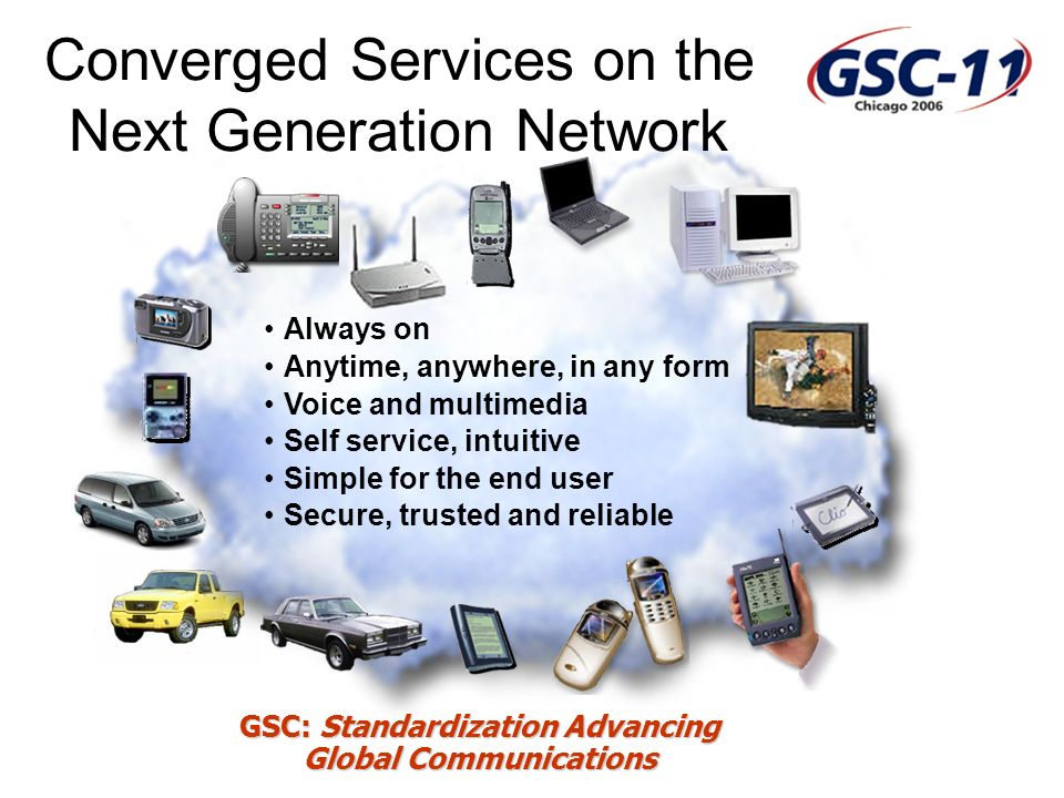 GSC: Standardization Advancing Global Communications Always on Anytime, anywhere, in any form Voice and multimedia Self service, intuitive Simple for the end user Secure, trusted and reliable Converged Services on the Next Generation Network
