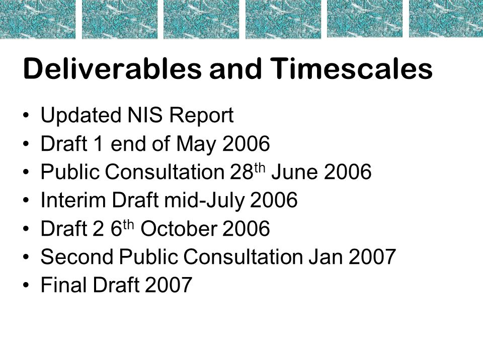 Deliverables and Timescales Updated NIS Report Draft 1 end of May 2006 Public Consultation 28 th June 2006 Interim Draft mid-July 2006 Draft 2 6 th October 2006 Second Public Consultation Jan 2007 Final Draft 2007