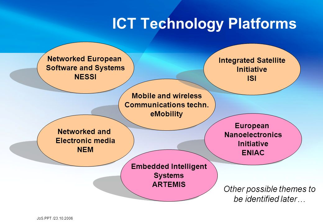 JoS.PPT /23.10.2006 ICT Technology Platforms Mobile and wireless Communications techn.