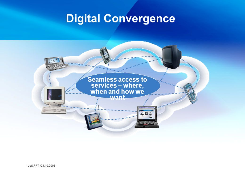JoS.PPT /23.10.2006 Digital Convergence Seamless access to services – where, when and how we want