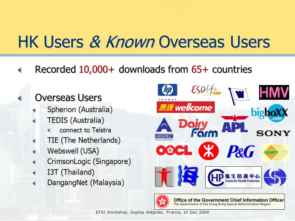 ETSI Workshop, Sophia Antipolis, France, 16 Dec 2004 HK Users & Known Overseas Users Recorded 10,000+ downloads from 65+ countries Overseas Users Spherion (Australia) TEDIS (Australia) connect to Telstra TIE (The Netherlands) Webswell (USA) CrimsonLogic (Singapore) I3T (Thailand) DangangNet (Malaysia)