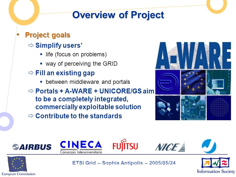 ETSI Grid – Sophia Antipolis – 2005/05/24 INSERT PROJECT ACRONYM HERE BY EDITING THE MASTER SLIDE (VIEW / MASTER / SLIDE MASTER) Overview of Project Project goals Project goals Simplify users life (focus on problems) way of perceiving the GRID Fill an existing gap between middleware and portals Portals + A-WARE + UNICORE/GS aim to be a completely integrated, commercially exploitable solution Contribute to the standards An easy Way to Access GRID REsources