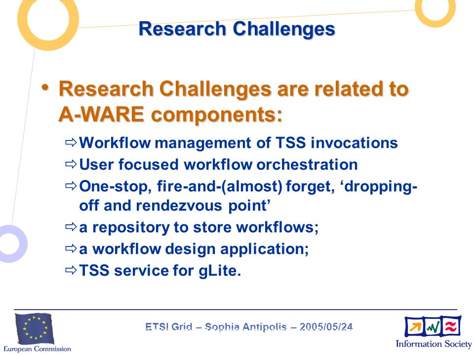 ETSI Grid – Sophia Antipolis – 2005/05/24 INSERT PROJECT ACRONYM HERE BY EDITING THE MASTER SLIDE (VIEW / MASTER / SLIDE MASTER) Research Challenges Research Challenges are related to A-WARE components: Research Challenges are related to A-WARE components: Workflow management of TSS invocations User focused workflow orchestration One-stop, fire-and-(almost) forget, dropping- off and rendezvous point a repository to store workflows; a workflow design application; TSS service for gLite.