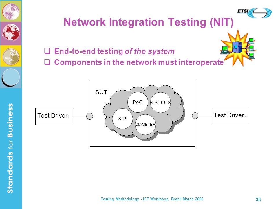 Testing Methodology - ICT Workshop, Brazil March 2006 33 Network Integration Testing (NIT) End-to-end testing of the system Components in the network must interoperate Test Driver 2 SUT SIP RADIUS DIAMETER PoC Test Driver 1