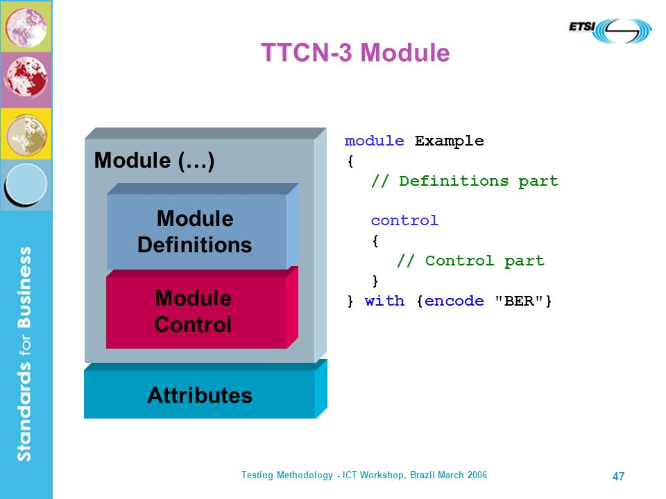 Testing Methodology - ICT Workshop, Brazil March 2006 47 TTCN-3 Module module Example { // Definitions part control { // Control part } } with {encode BER } Attributes Module (…) Module Control Module Definitions