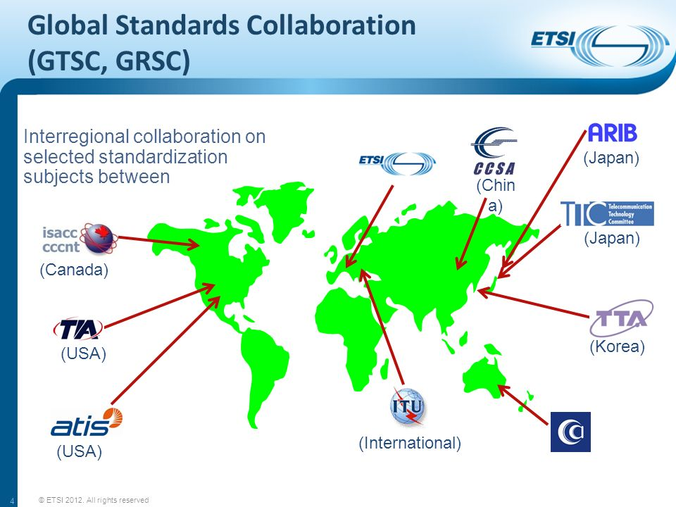Global Standards Collaboration (GTSC, GRSC) 4 Interregional collaboration on selected standardization subjects between (Canada) (USA) (International) (Japan) (Korea) (Japan) (Chin a) © ETSI 2012.