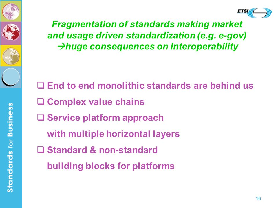 16 Fragmentation of standards making market and usage driven standardization (e.g.