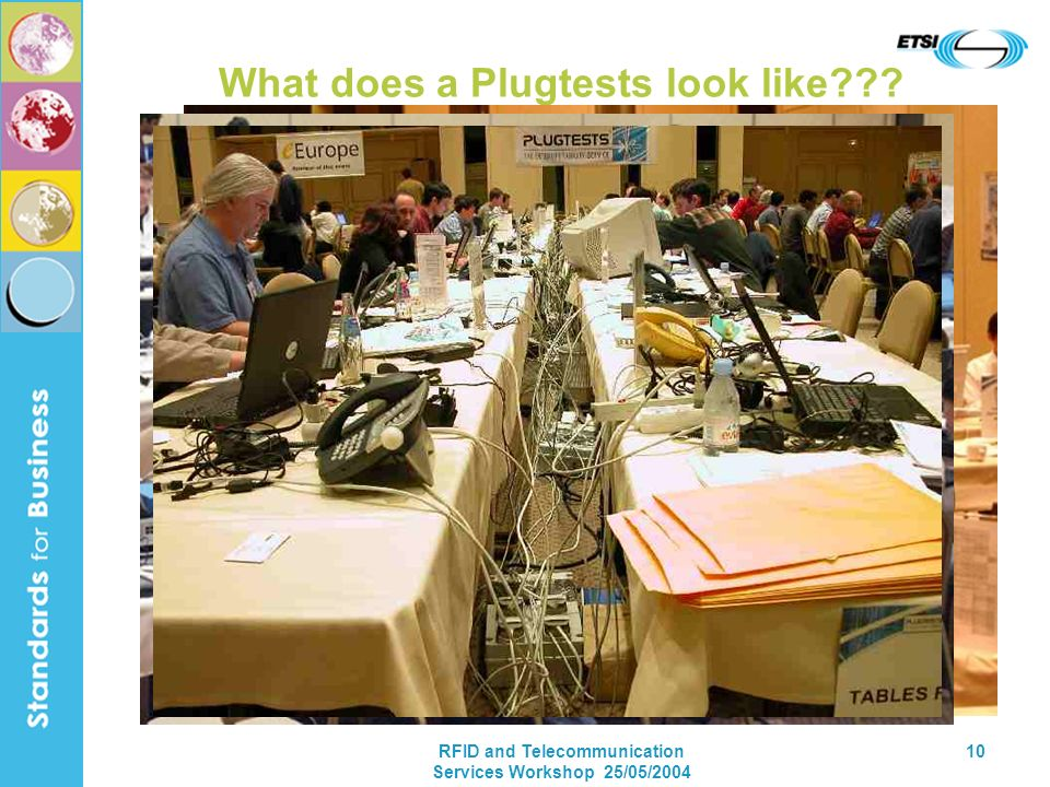 RFID and Telecommunication Services Workshop 25/05/2004 10 What does a Plugtests look like