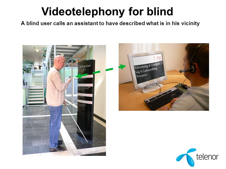 Videotelephony for blind A blind user calls an assistant to have described what is in his vicinity