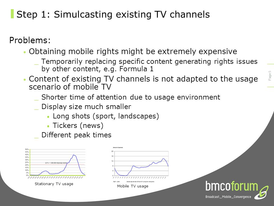 © bmco 2003 Page 4 Step 1: Simulcasting existing TV channels From the content point of view the costs of simulcasting existing TV channels to mobile devices are manageable.