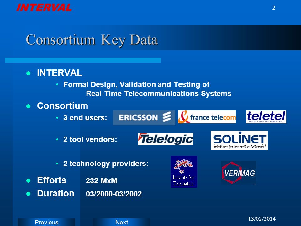 INTERVAL Next Previous 13/02/2014 2 Consortium Key Data INTERVAL Formal Design, Validation and Testing of Real-Time Telecommunications Systems Consortium 3 end users: 2 tool vendors: 2 technology providers: Efforts 232 MxM Duration 03/2000-03/2002