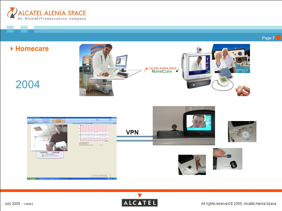All rights reserved © 2005, Alcatel Alenia SpaceJuly 2005 - M054E-5 Page 7 Homecare VPN 2004