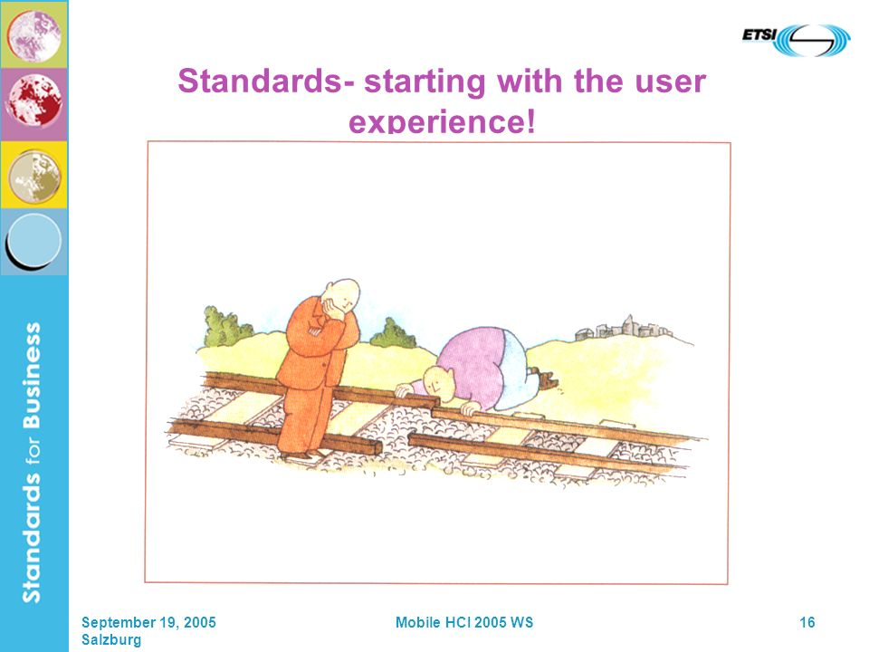 September 19, 2005 Salzburg Mobile HCI 2005 WS16 Standards- starting with the user experience!