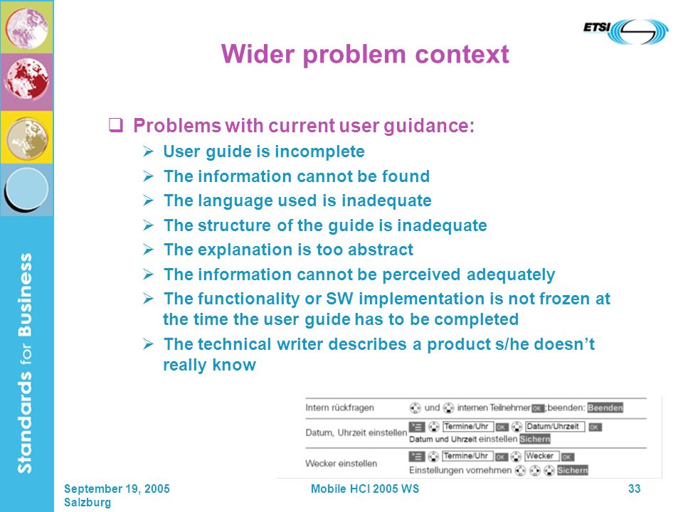 September 19, 2005 Salzburg Mobile HCI 2005 WS33 Wider problem context Problems with current user guidance: User guide is incomplete The information cannot be found The language used is inadequate The structure of the guide is inadequate The explanation is too abstract The information cannot be perceived adequately The functionality or SW implementation is not frozen at the time the user guide has to be completed The technical writer describes a product s/he doesnt really know