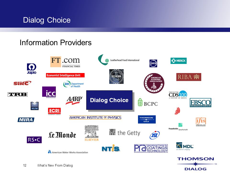 What s New From Dialog12 Dialog Choice Information Providers