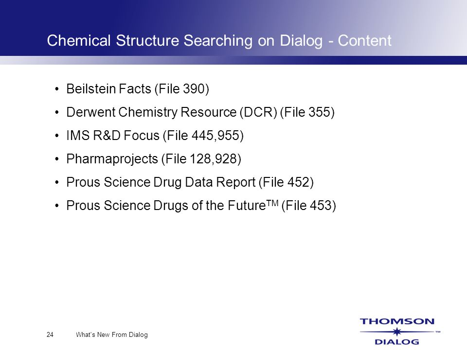 What s New From Dialog24 Chemical Structure Searching on Dialog - Content Beilstein Facts (File 390) Derwent Chemistry Resource (DCR) (File 355) IMS R&D Focus (File 445,955) Pharmaprojects (File 128,928) Prous Science Drug Data Report (File 452) Prous Science Drugs of the Future TM (File 453)