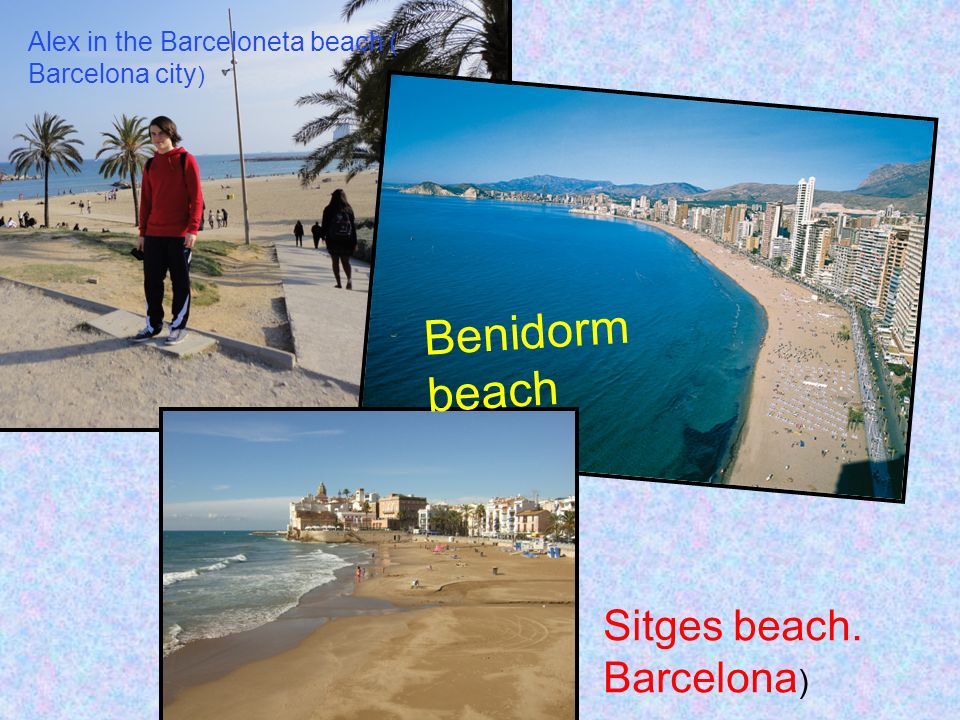 Sitges beach. Barcelona ) Benidorm beach Alex in the Barceloneta beach ( Barcelona city )