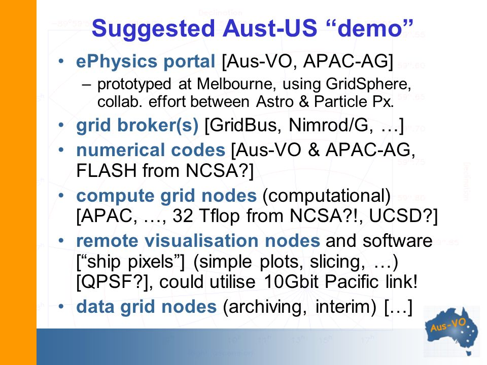 Suggested Aust-US demo ePhysics portal [Aus-VO, APAC-AG] –prototyped at Melbourne, using GridSphere, collab.
