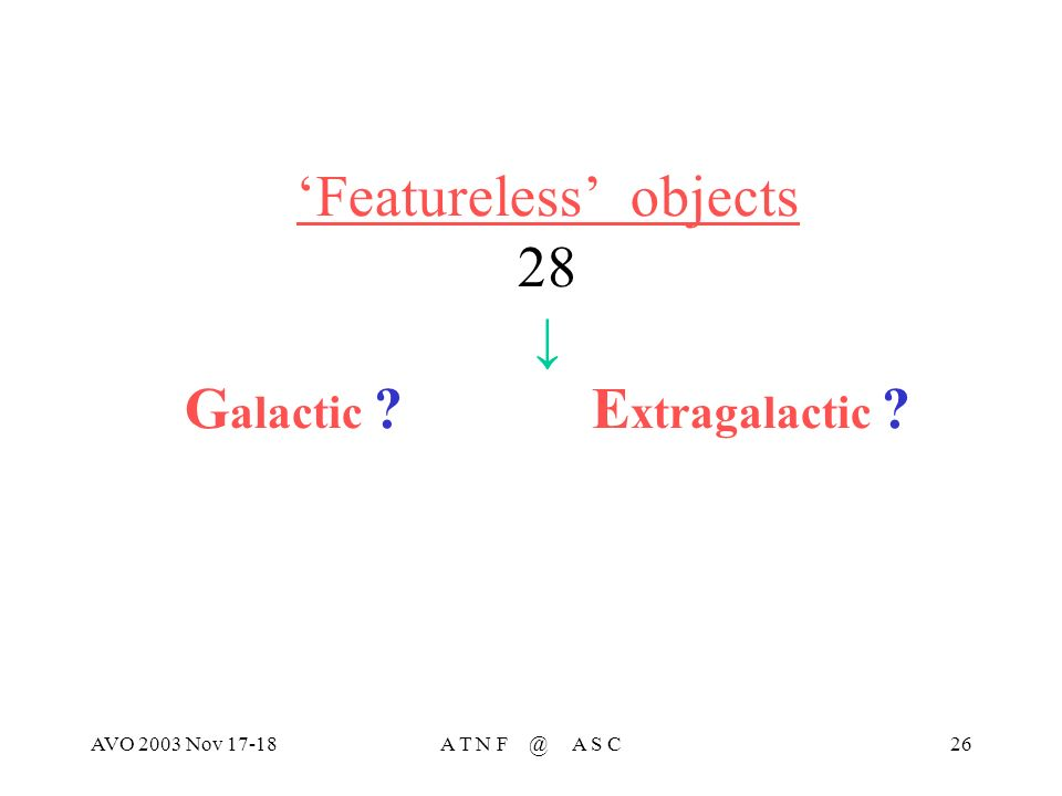 AVO 2003 Nov 17-18A T N F @ A S C26 Featureless objects 28 G alactic E xtragalactic