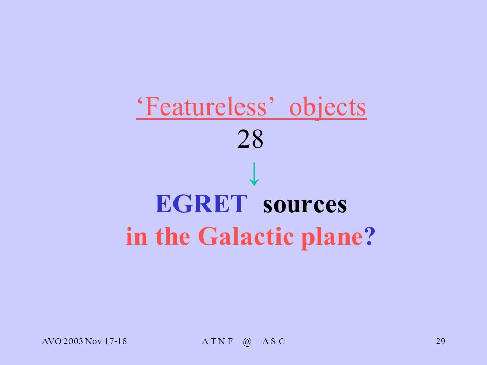 AVO 2003 Nov 17-18A T N F @ A S C29 Featureless objects 28 EGRET sources in the Galactic plane
