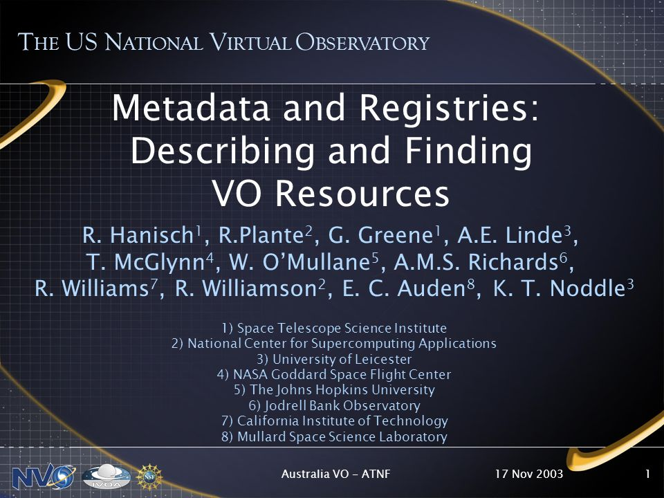 17 Nov 2003Australia VO - ATNF1 Metadata and Registries: Describing and Finding VO Resources R.