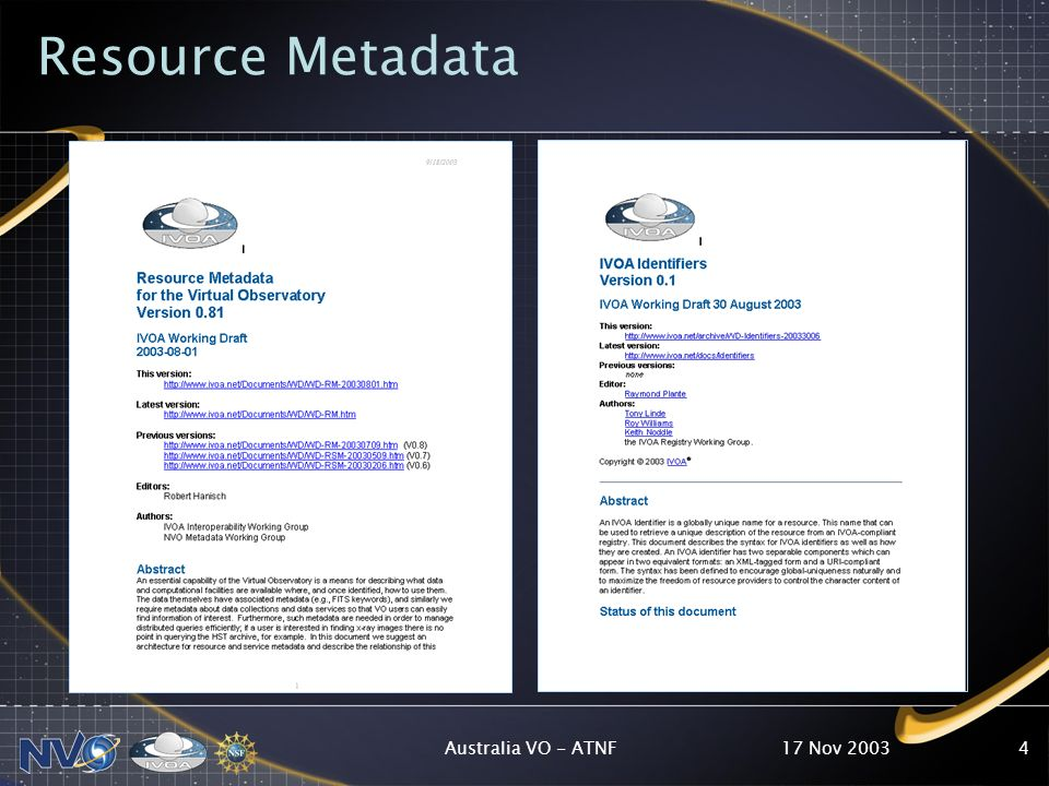 17 Nov 2003Australia VO - ATNF4 Resource Metadata