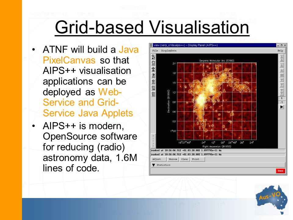 Grid-based Visualisation ATNF will build a Java PixelCanvas so that AIPS++ visualisation applications can be deployed as Web- Service and Grid- Service Java Applets AIPS++ is modern, OpenSource software for reducing (radio) astronomy data, 1.6M lines of code.