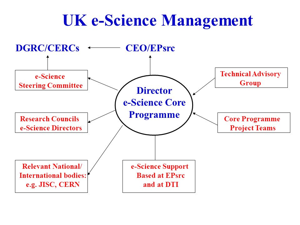 UK e-Science Management e-Science Steering Committee Research Councils e-Science Directors Relevant National/ International bodies: e.g.
