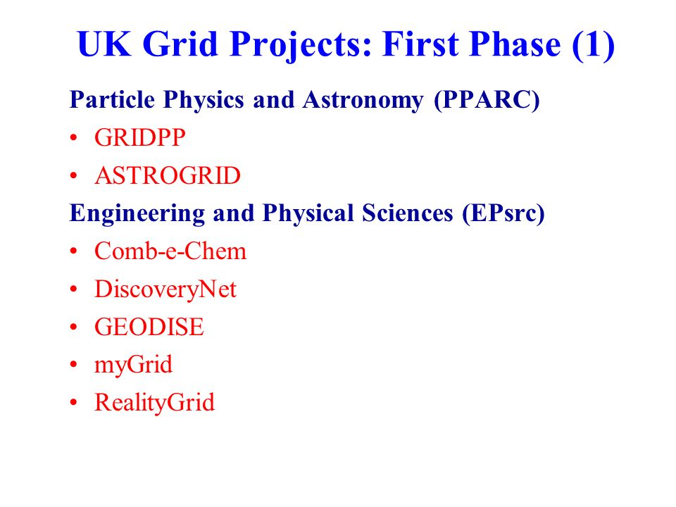 UK Grid Projects: First Phase (1) Particle Physics and Astronomy (PPARC) GRIDPP ASTROGRID Engineering and Physical Sciences (EPsrc) Comb-e-Chem DiscoveryNet GEODISE myGrid RealityGrid