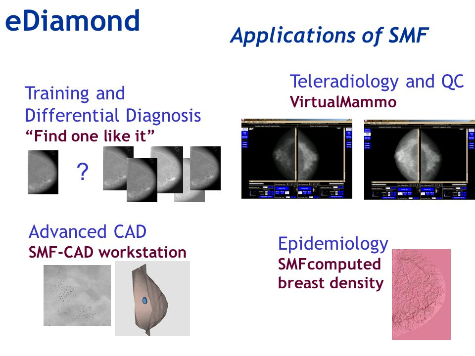 Applications of SMF Training and Differential Diagnosis Find one like it Teleradiology and QC VirtualMammo Epidemiology SMFcomputed breast density .