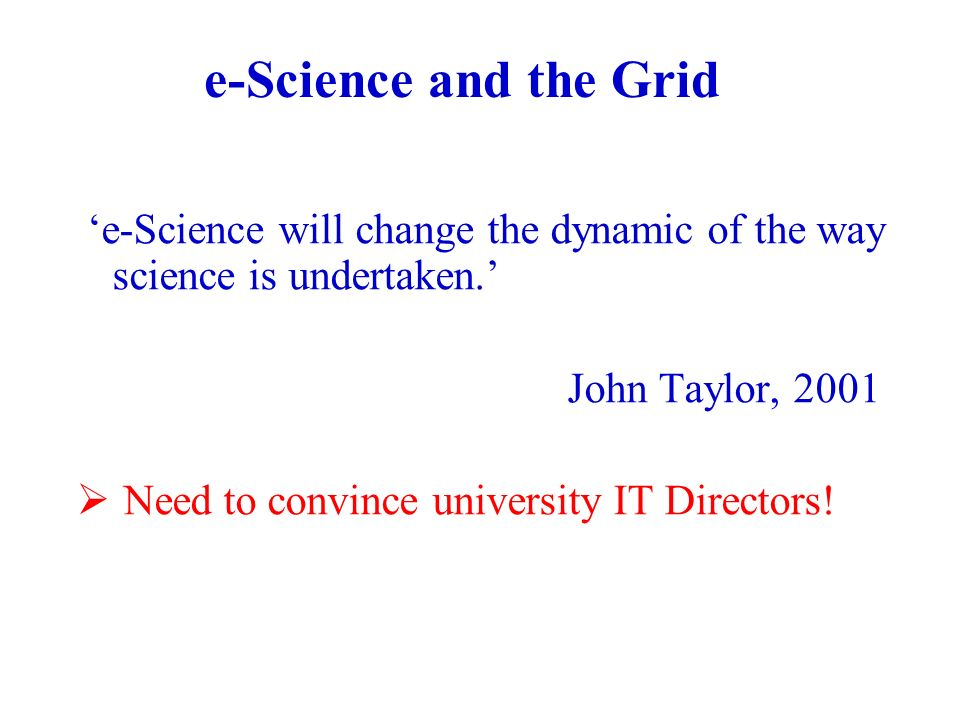 e-Science and the Grid e-Science will change the dynamic of the way science is undertaken.