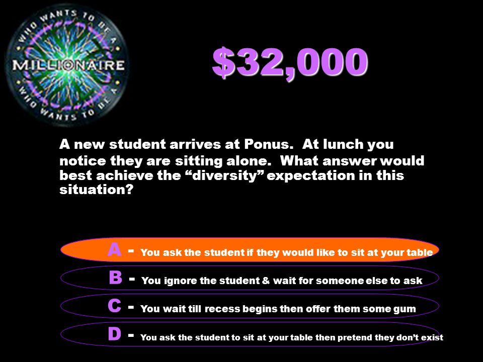 $32,000 A new student arrives at Ponus. At lunch you notice they are sitting alone.