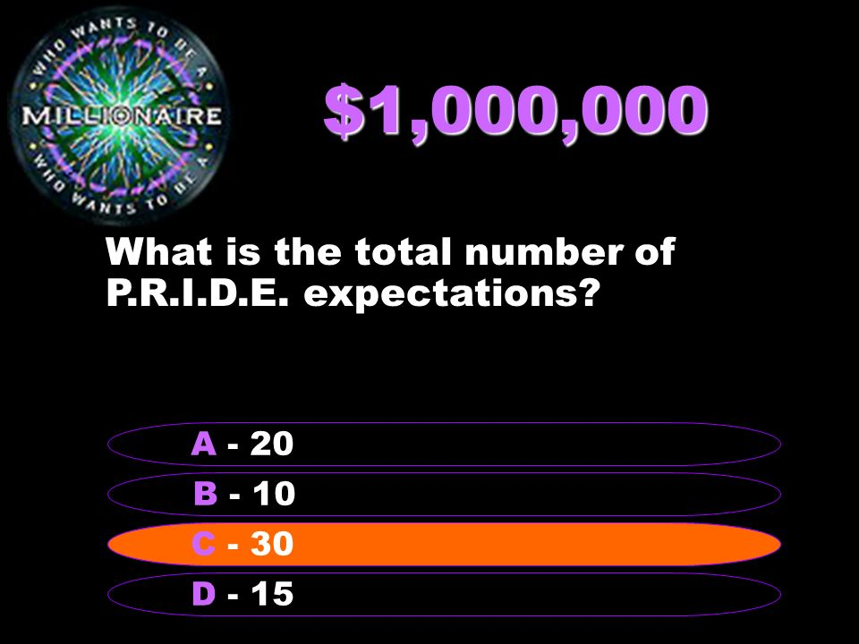 $1,000,000 What is the total number of P.R.I.D.E. expectations B - 10 A - 20 C - 30 D - 15 C - 30