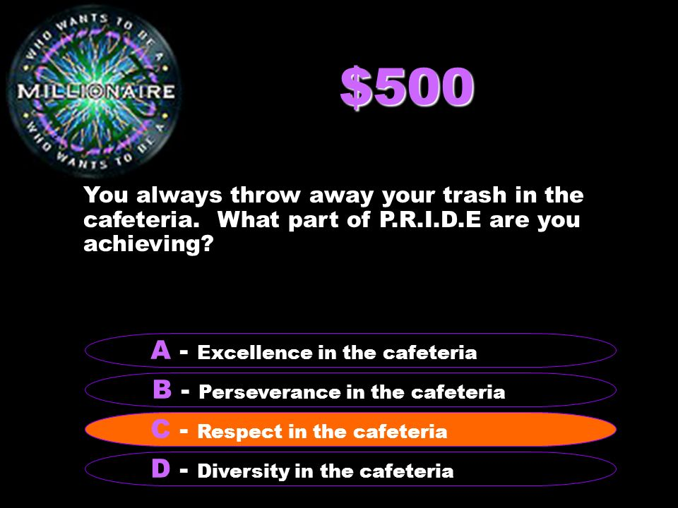 $500 You always throw away your trash in the cafeteria.