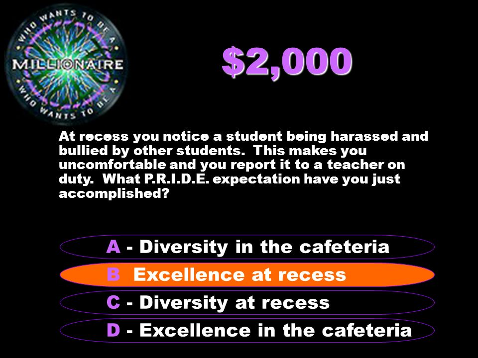 $2,000 At recess you notice a student being harassed and bullied by other students.