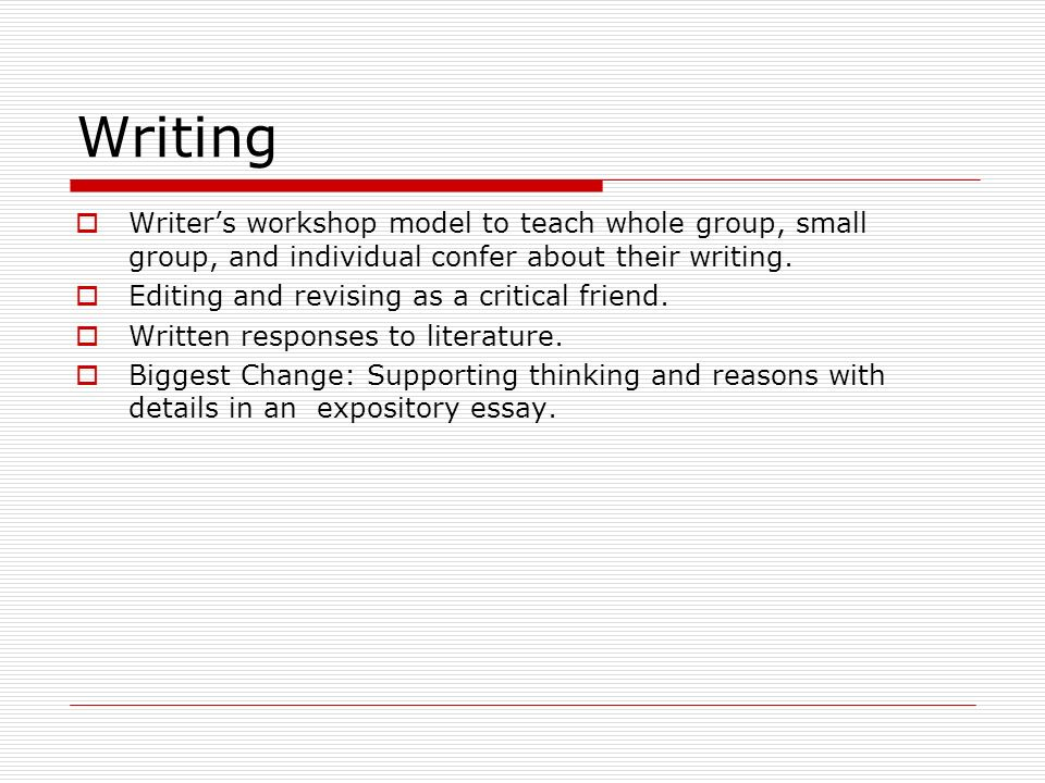 Writers workshop model to teach whole group, small group, and individual confer about their writing.