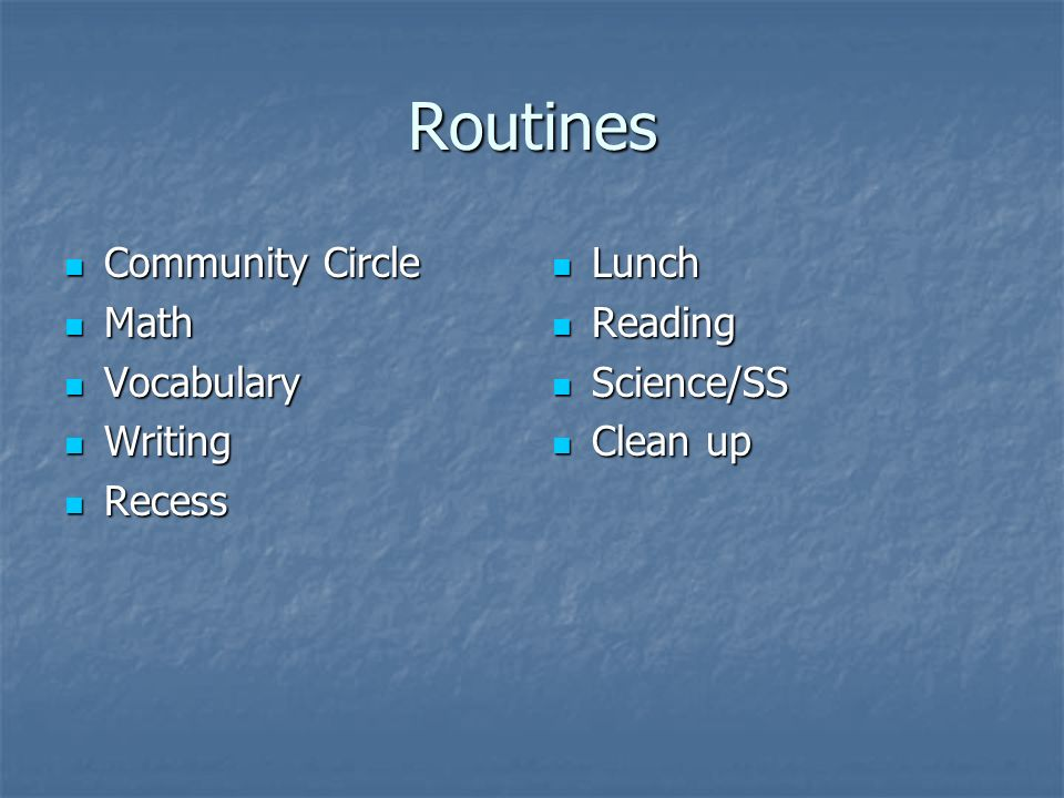 Routines Community Circle Community Circle Math Math Vocabulary Vocabulary Writing Writing Recess Recess Lunch Lunch Reading Reading Science/SS Science/SS Clean up Clean up