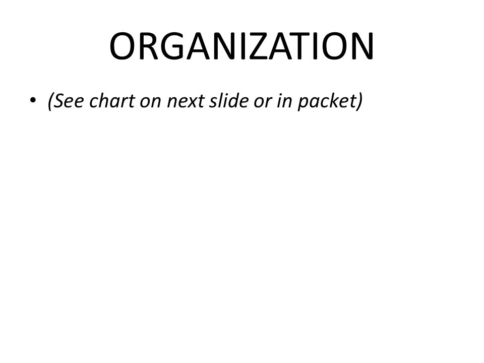 ORGANIZATION (See chart on next slide or in packet)